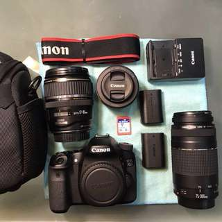 Canon 70D + 17-85mm USM + 75-300mm + 50mm STM in pristine condition! Awesome set! CHEAP!