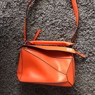Replica Loewe puzzle bag in orange high quality