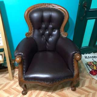 A Pair of Teak wood brown chair