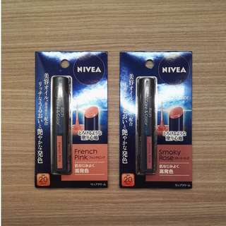 Nivea Rich Care & Color Lip Balm BNIP, Smoky Rose and French Pink
