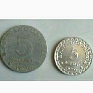 7 koin uang kuno Indonesia + 2 koin Singapura
