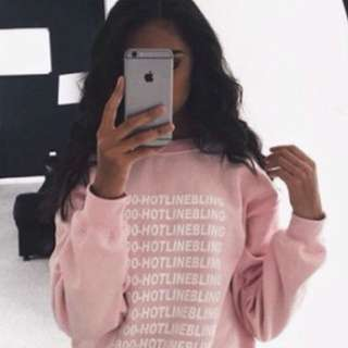 pink hotline bling pullover