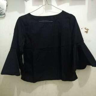 Black Bell-Sleeve Top