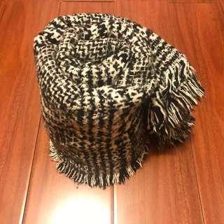 天冷圍巾來了☄️ 正韓 黑白交叉文千鳥格格紋圍巾 聖誕節跨年必備