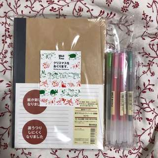 Muji set of five notebooks and 12 gel ink pens