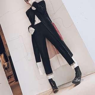 VM 歐美 時尚 小香風 黑色雙層腳口拼接編織紋毛呢高腰直筒褲