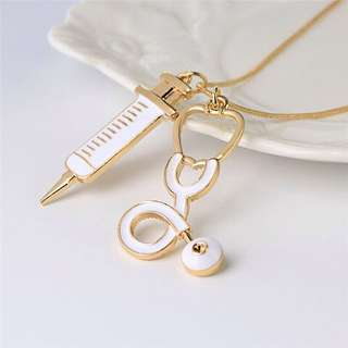Syringe and stethoscope necklace