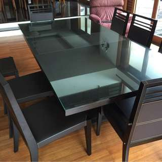 Beautiful Modern Wood & Leather Dining Table & Chairs