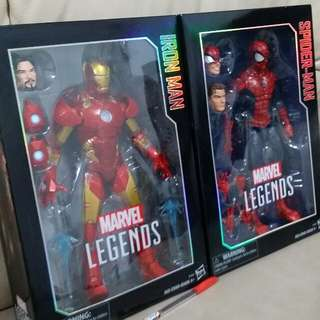 (retails for $200) 2 x marvel legends (iron man & spiderman)
