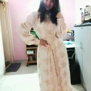 Muslimah Long sleeve Handmade custom Cream traditional Malay beaded kurung kebaya nyonya dress  Fits size L