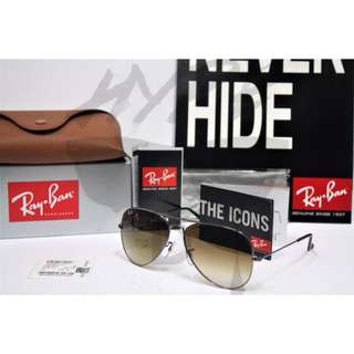Authentic Ray Ban Aviator Polarized RB3025 Gunmetal Gradient Brown 004/51.