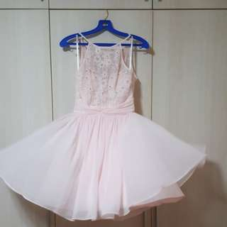 Baby Pink Dress with Diamonite and Floral Cut-out