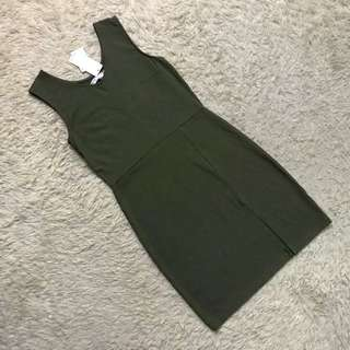 ARMY green Bodycon Dress with Front Slit by PENSHOPPE