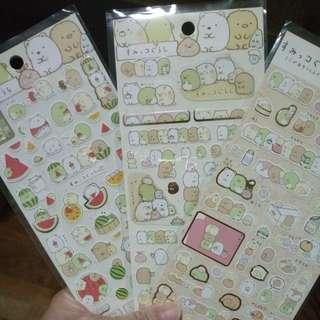 SET OF 3 Cute Sumikko Gurashi Sticker Sheets