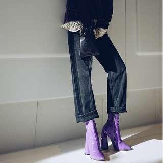 VM 秋冬 歐美風 黑色側邊撞色水洗直筒寬鬆闊腿牛仔九分褲