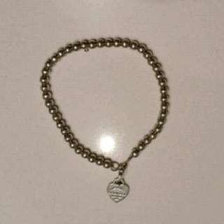 Genuine Tiffany & Co small silver 925 beaded heart bracelet