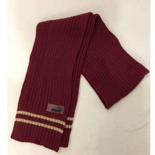 PUMA 紅色針織圍巾