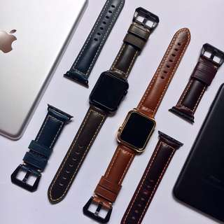 42mm/38mm APPLE WATCH SERIES 3/2/1 GENIUNE COWHIDE LEATHER  BAND CASE CASING COVER STRAP BAND (Self-Collection) (Postage)
