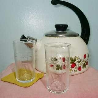 🚚 老件*  早期玻璃杯*雙花紋