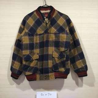 古著 復古 格紋 刷毛 保暖外套