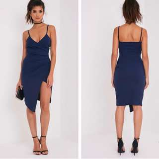 Navy Wrap Midi Dress