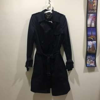H&M黑色風衣外套