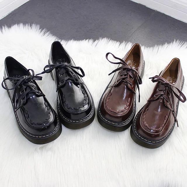 ɴᴇᴡ 12 / 17✨ ░ LIZDASHOP / 韓版日系英倫學院風圓頭厚底松糕復古小皮鞋#058