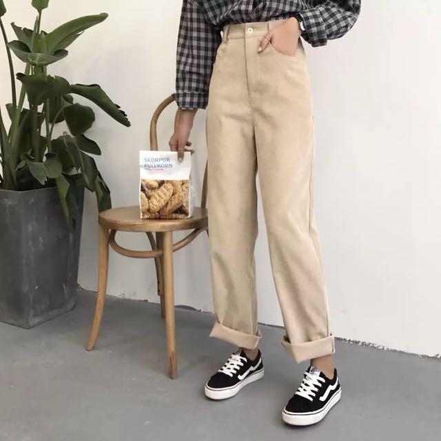 ɴᴇᴡ 12 / 17✨ ░ LIZDASHOP / 韓國復古BF高腰燈芯絨水手風直筒褲闊腿褲長褲#9631412