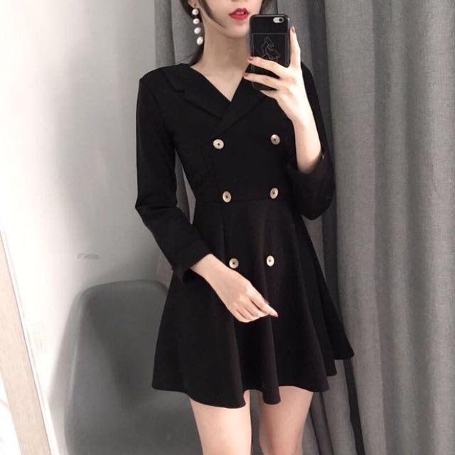 ɴᴇᴡ 12 / 17✨ ░ LIZDASHOP / 冬韓國氣質小V領高腰修身顯瘦連衣裙純色簡約雙排扣洋#9631612