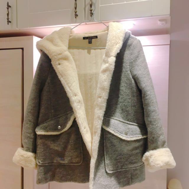 聖誕首選灰色暖毛外套