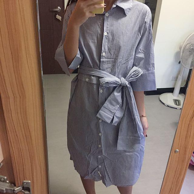 襯衫洋裝(附綁帶)