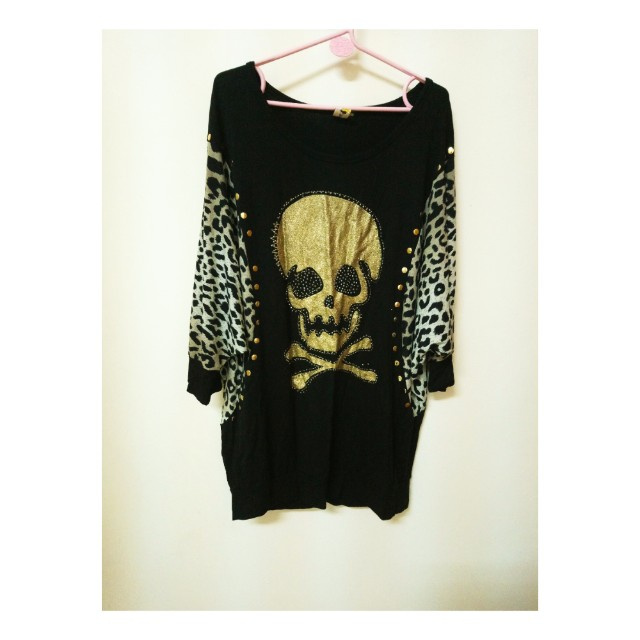 飛鼠袖骷髏豹紋袖上衣#冬季衣櫃出清#有超取最好買