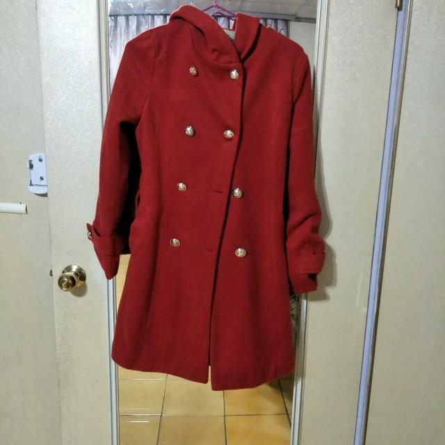 紅色長版綁帶大衣外套