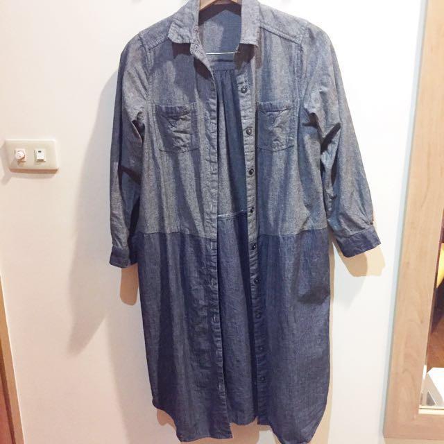 森林系牛仔拼接長版罩衫/襯衫