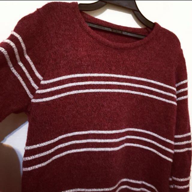 適合聖誕節的可愛條紋毛料上衣 毛衣