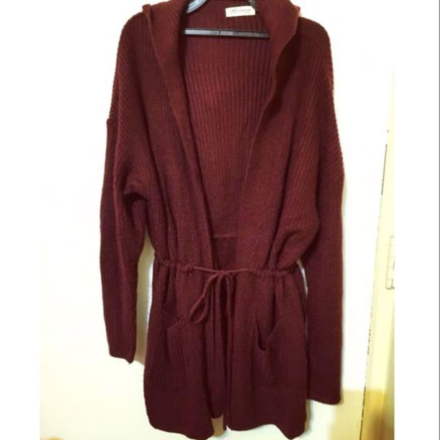 正韓酒紅色長版綁帶連帽針織外套 針織外套