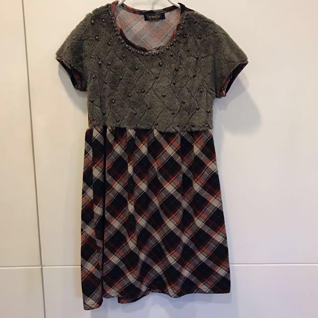 毛毛珠珠咖啡格紋洋裝 附領巾/腰帶雙綁法