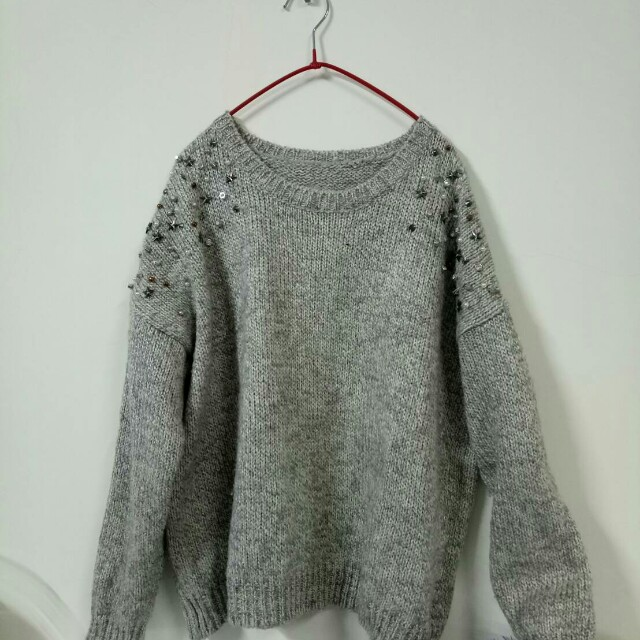 鉚釘  韓版短毛衣