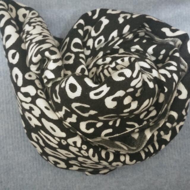 時尚長黑色豹紋圍巾 絲巾