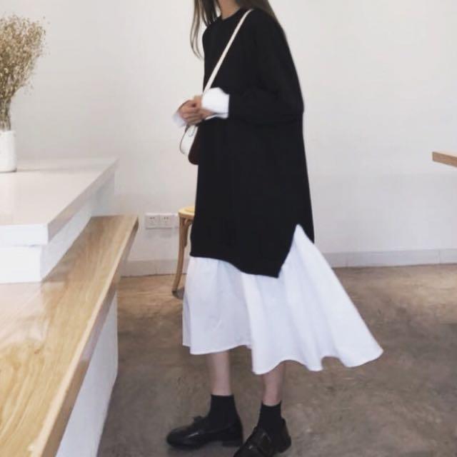 荷葉邊假兩件長袖連身洋裝 全新 黑色