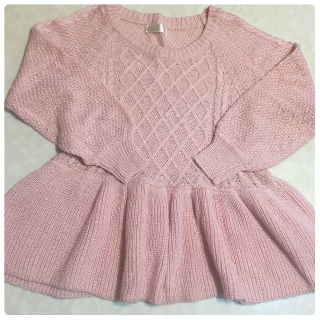 毛衣 粉色 荷葉