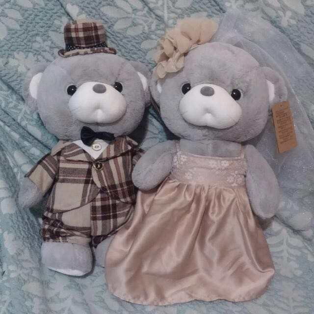 高質感結婚夫妻熊 全新 新娘新郎 收禮桌