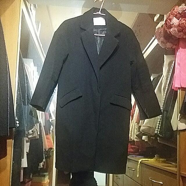 韓版 舖棉 黑色 毛呢 外套