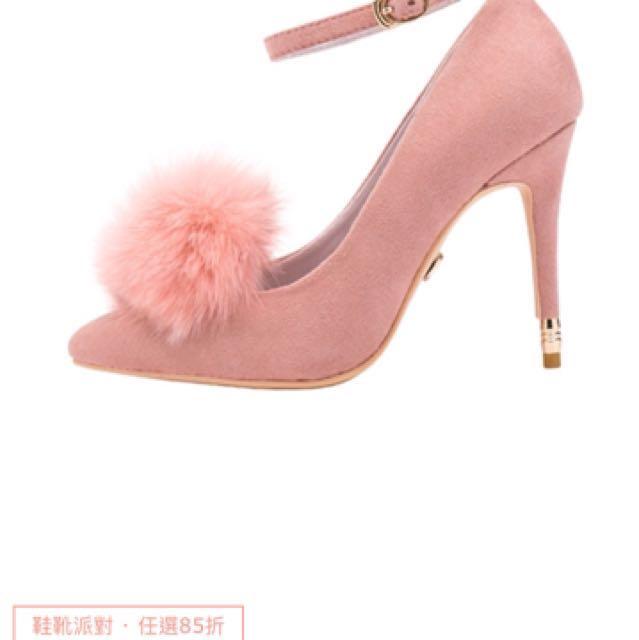 AIR SPACE 2way 粉紅毛絨球麂皮尖頭根鞋