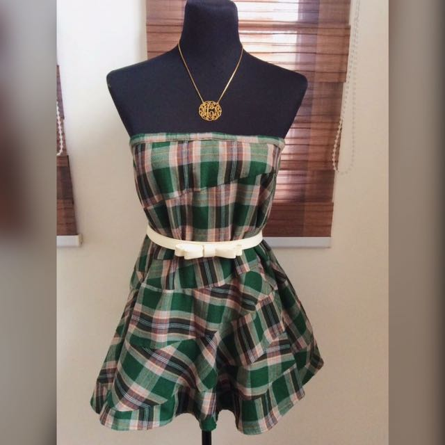 💚As Know As Green Plaid Midi Skirt / Tube Top or Dress💚