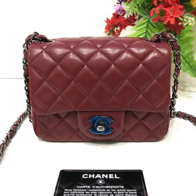 9a661830cf35 Authentic Chanel Classic Mini Square Flap Bag, Barangan Mewah, Beg ...
