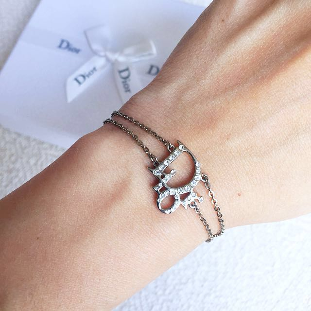 AUTHENTIC DIOR Oblique Rhinestones Bracelet