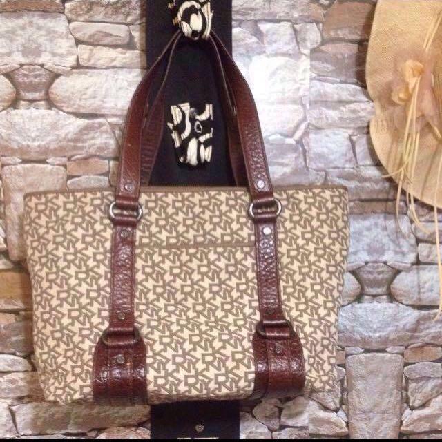 Authentic DKNY Handbag, Genuine Leather Handle