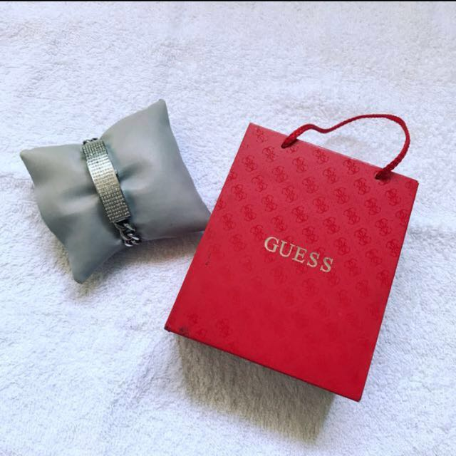 Authentic Guess Watch w/ White Gold Crystals