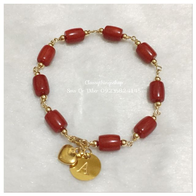 Authentic Red Coral Bracelet w/ Heart & Initial charm